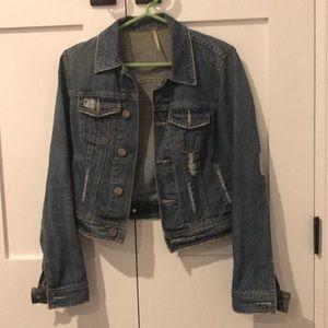 Free People Distressed Jean Jacket Sz 2